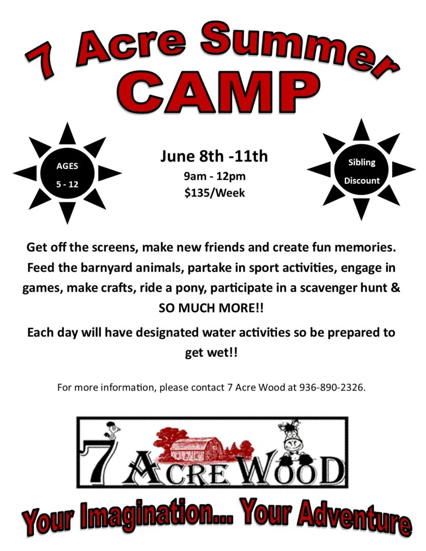 7 ACRE SUMMER CAMP FLIER June 8th-11th